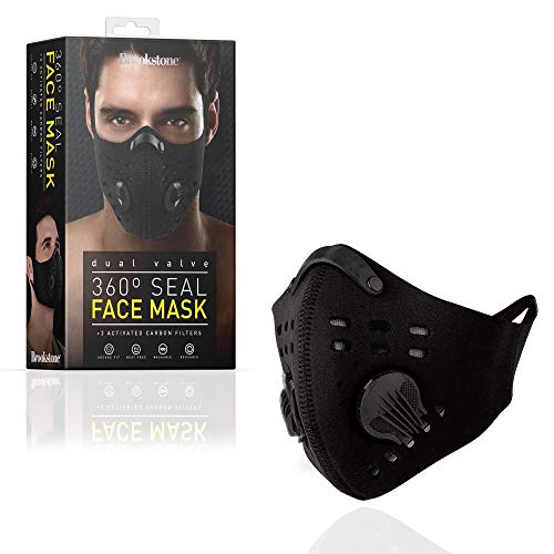 Brookstone Reusable Face Mask with 3 Carbon Filters, Adults (1 Pack - Black)