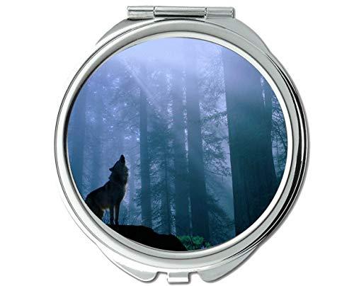 Yanteng Spiegel, Reisespiegel, Tier-Wolf-Maskerade-Taschenspiegel, 1 X 2X Vergrößerung