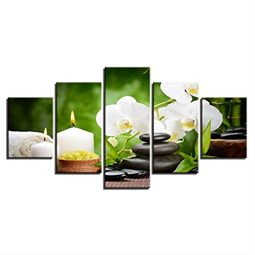 Canvas schilderij woonkamer live muurkunst HD prints poster 5 stuks stenen  kaars orchidee bloemen foto's wooncultuur 40x60cmx2,40x80cmx2,40x100cmx1 Geen frame.