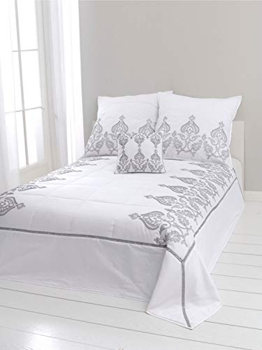heine home Tagesdecke - Bettüberwurf - Decke weiß mit Steppung und hochwertiger Silber Stickerei, Tagesdecken:ca. 140 x 210 cm
