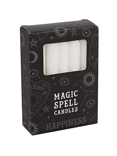 12 Magic Spell Candles - Happiness White 10cm