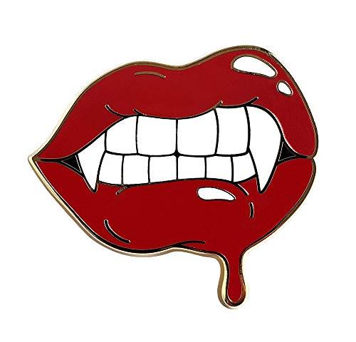 Pinsanity Red Vampire Lips and Fangs Enamel Lapel Pin