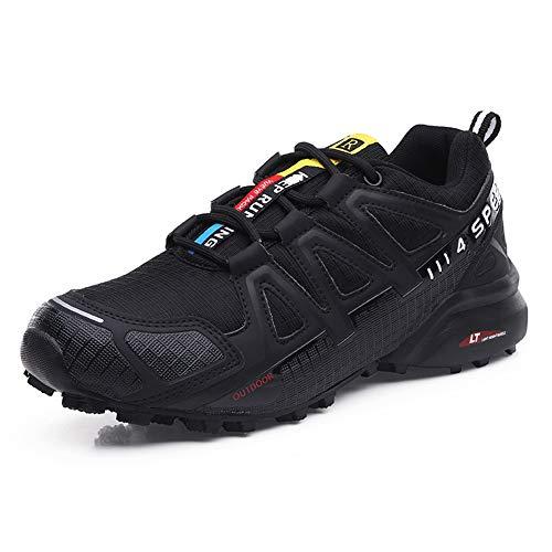 Zapatillas Trekking Hombre Zapatillas Senderismo Transpirable Antideslizante Al Aire Libre Zapatillas de Deporte Negro 44
