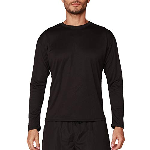 INGEAR Mens Swim Shirt UPF Mens Sun Shirts Mens Long Sleeve Rash Guard (Black, Large)