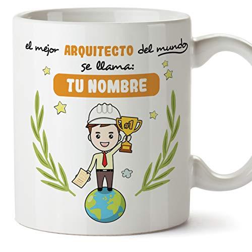 Arquitecto Tazas originales personalizadas con tu nombre de café y desayuno para regalar - Esta taza pertenece al mejor arquitecto del universo - Cerámica 350 ml - Arquitectura Personalizable