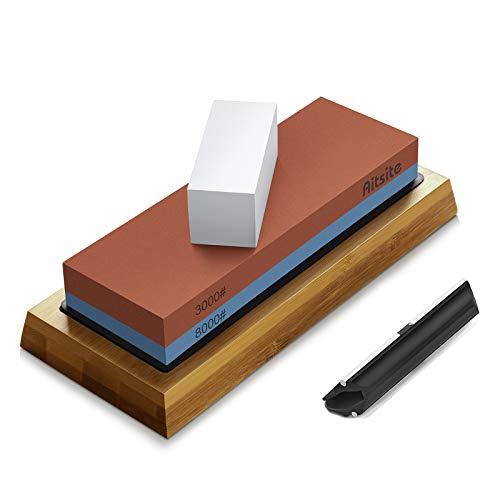 Aitsite Pietra per affilare i coltelli, 2 Lati Grana 3000 8000 Kit Professionale per affilare la Pietra bagnata con Supporto in Silicone Base in bambù Guida angolare Pietra per appiattire