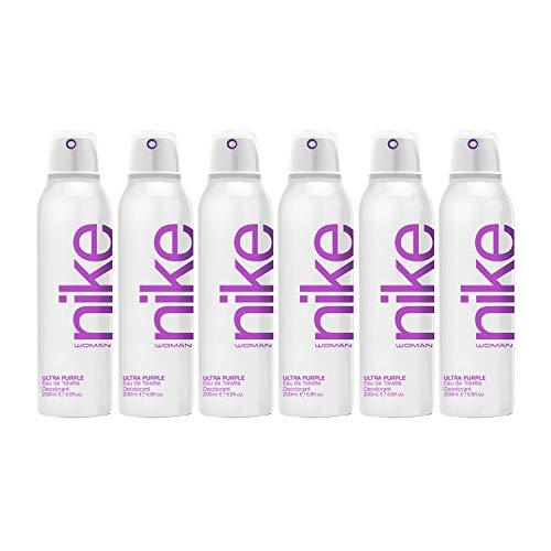 Nike Ultra Purple Woman Eau de Toilette Desodorante Spray 200ml - Pack de 6