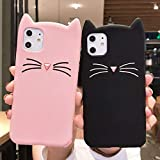 LCHULLE 2 Pack Compatible with iPhone 12/iPhone 12 Pro Cat Case Lovely Cute 3D Cartoon Meow Cat Ears Ultra Slim Soft Silicone Case Anti-Scratch Shockproof Protective Cover for Girls Women,Pink & Black