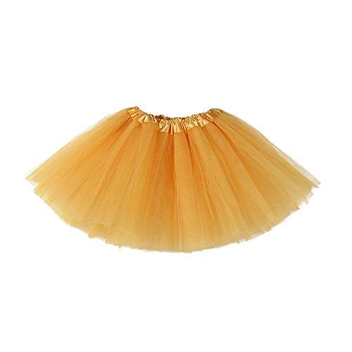 Tüllrock Ballettrock Tutu Petticoat Vintage Partykleid Unterkleid Hirolan Damen Falten Gaze Kurzer Rock Erwachsene Tutu Tanzender Rock Ballklei Abendkleid Zubehör (Einheitsgröße, Gold 5)