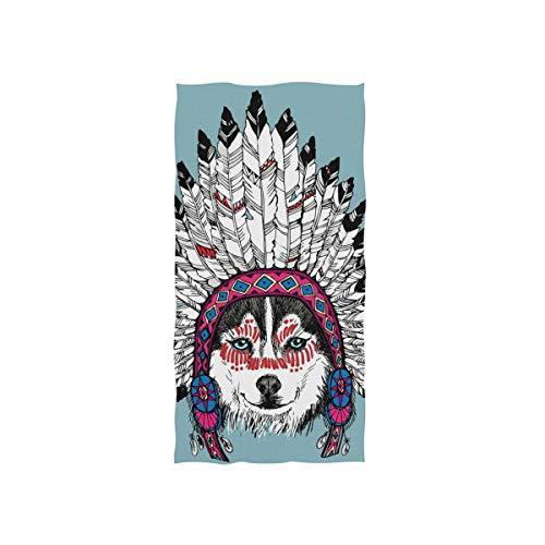 MNSRUU gefaltetes Badezimmer-Handtuch, Husky-Porträt mit Indianer-Kopfschmuck, Handtuch für Badezimmer, Fitnessstudio und Spa
