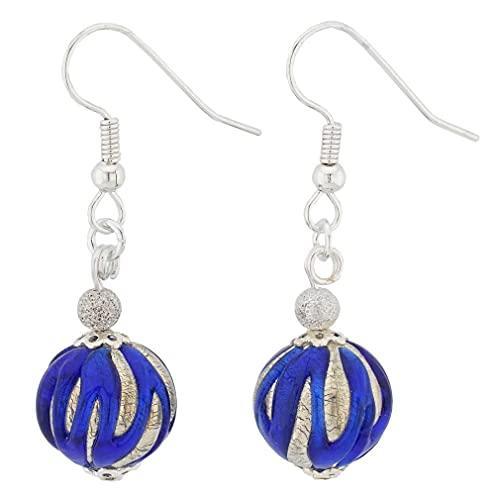 GlassOfVenice Pendientes de bola de plata azul real de cristal de Murano