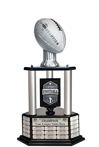 TrophySmack Perpetual Fantasy Football Trophy - Customizable Championship Trophy Award Winner | Free Engraving up to 19 Years Past Winners, 26 Inch Tall (Silver)