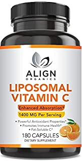 Align Organics Liposomal Vitamin C Dietary Supplement 1400mg- 180 Capsules- Supports Immunity- Non GMO- Gluten Free