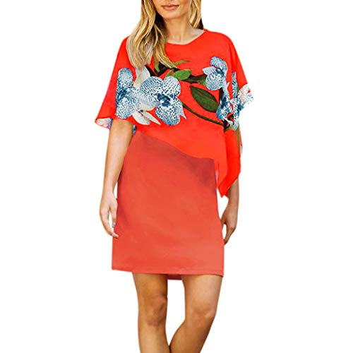 Elegante Kleider Damen Kleid Cocktailkleider Ronamick Frauen Casual Chiffon Floral Print Schal Slim Mini Etuikleid Nähen(XL, Orange)