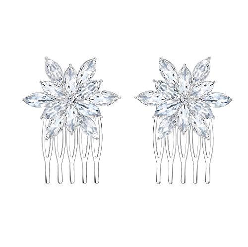 EVER FAITH Damen Haarkamm Österreichischer Kristall Simulierte Perle Hochzeit Blume Blatt Braut Haar Schmuck Klar Silber-Ton (Stil9)