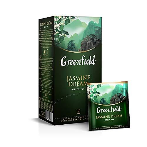 Greenfield Jasmine Dream, Aromatisierter Grüner Tee Mit Jasmin, Green Tea, 25 Doppelkammerbeutel mit Etiketten in einem Folienbeutel (25 x 2 g), 50 g [2 Stück]