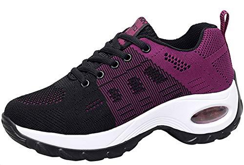 2020 Zapatos cuña Mujer Zapatillas de Deportivas Plataforma Mocasines Primavera Verano Planas Ligero Tacon Sneakers Cómodos Zapatos para Mujer, Purple,37 EU ⭐