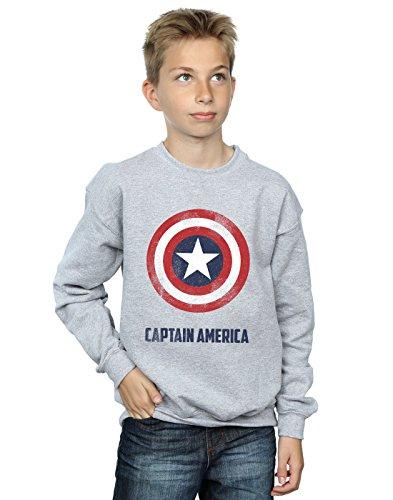 Marvel Jungen Captain America Shield Text Sweatshirt 5-6 Years Sport Grey