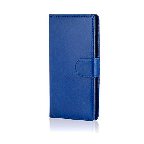 32nd Custodia a Portafoglio in Pelle PU per Lenovo K5, Case Realizzato in Pelle Sintetica con Diversi Comparti e Chiusura Magnetica - Blu