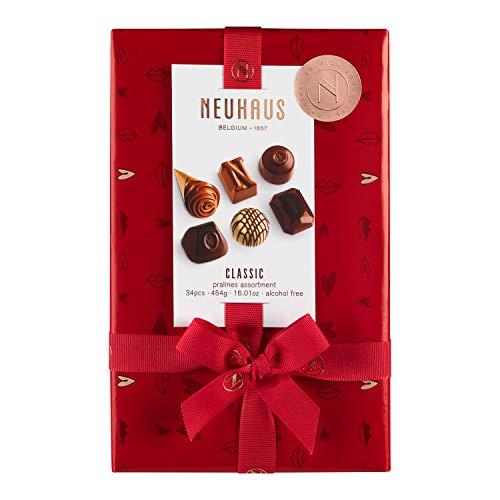 Neuhaus Belgian Chocolate Valentine 2021 Classic Pralines Assortment Ballotin - 1 lb , Premium Chocolate Gift Ballotin Box , Gourmet Milk, Dark, White Chocolate Praline Assortment, 34 count