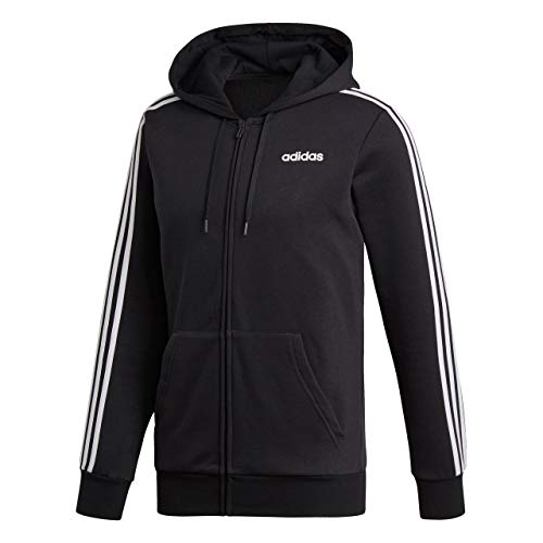 Adidas Essentials 3 Stripes Fullzip Fleece, Track Tops Uomo, Black/White, M