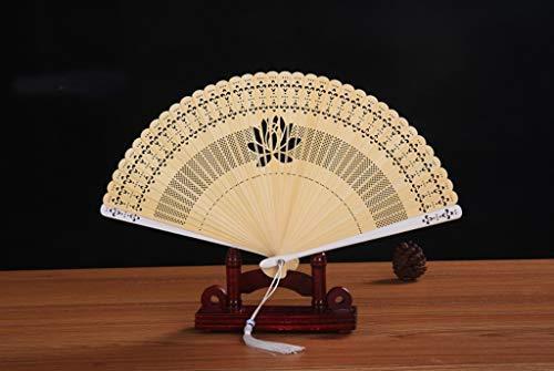 QJXSAN Kleine Faltfächer Sandelholz Hand Fan chinesischen Holz Folding Fan Vintage-Handventilator for Hochzeit Geburtstag Partei-Dekoration Lotus