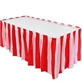 Red White Striped Table Skirt Carnival Circus Skirt Halloween Christmas Theme Decoration Party Supplies, 14 Feet x 29 Inches