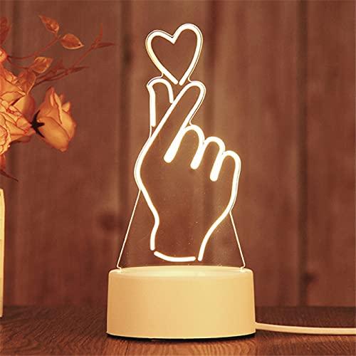 Lámpara de acrílico de globo en forma de corazón de luz de noche LED 3D Lámpara de mesa deslizante 3D Regalo de San Valentín Luz de decoración del hogar