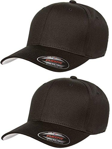 2-Pack Premium Original Flexfit Cotton Twill Fitted Hat w/THP No Sweat Headliner Bundle Pack