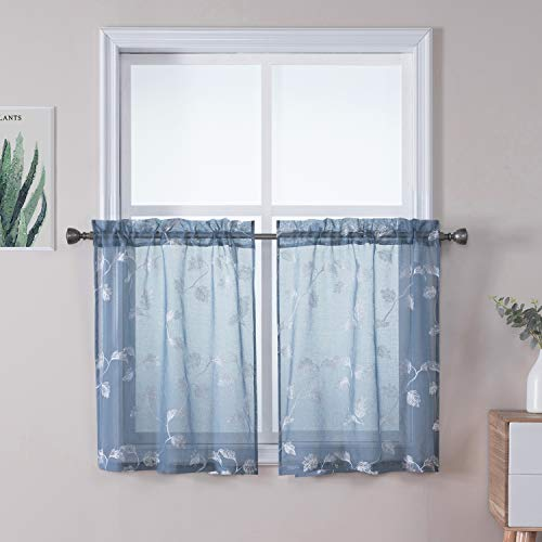 """Haperlare Kitchen Curtains Leaves Embroidery Small Sheer Tier Curtains, Elegant Floral Embroidered Café Curtain Set Rod Pocket Bathroom Window Curtain, 26"""" x 24"""", Dusty Blue, Set of 2"""