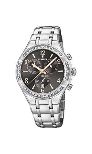 Festina Damen Chronograph Quarz Uhr mit Edelstahl Armband F20392/4