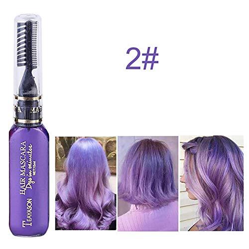 Xiton 1 PC TemporäR Haarfarbe Kreide Sofort HaarfäRbestift Haarfarbe Mascara Ungiftig Waschbar Haarkreide Perfekt FüR Haar-Styling-Tool (Lila)