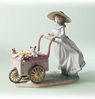 Lladro Kitty Cart 06141 Girl with Flower Cart with Kittens