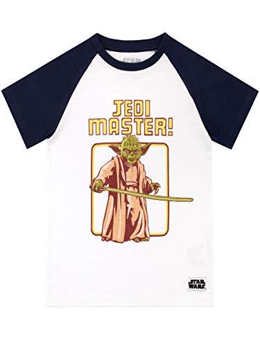 Star Wars Camiseta de Manga Corta para Niños Yoda La Guerra de Las Galaxias Blanco 10-11 Años