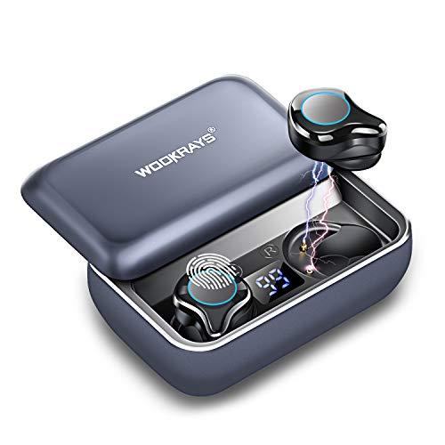 Bluetooth Kopfhörer, WOOKRAYS Kabellos Kopfhörer in Ear Sport Wireless Bluetooth 5.0 Headset Stereo-Minikopfhörer 120H&3000mAh Metall-Ladekoffer Schieben mit IPX7 Wasserdicht, Mikrofon, Touch-Control