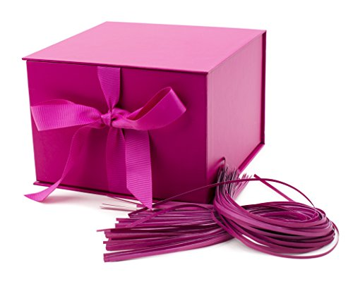 Hallmark 7quot Gift Box Hot Pink for Birthdays Bridal Showers Weddings Baby Showers Valentines Day and More