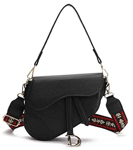 MerryGirl Mode Kleine Sattel Umhängetasche für Damen Top Griff Handtasche Crossbody Handtasche Geldbörse (Schwarz)