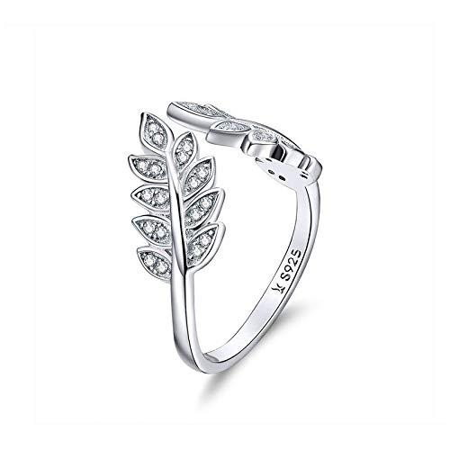 JIARU Anillo de plata de ley 925 para mujer, anillo ajustable, anillo simple y hoja de circonita incrustada para niña anillo de dedo abierto regalo