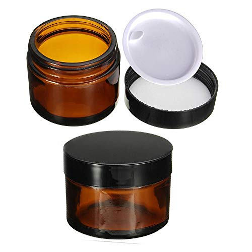 KingYH 2 Pieza 50ml Tarros de Cristal de Ámbar con Tapa Interior Vacía Crema Rellenables Botella de Pot Recipiente para Salve Crema Facial Loción Aromaterapia Mezclas Biberó Marrón