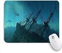 PATINISAマウスパッド 台無しにされた残骸の水中沈没船の謎の宝のテーマに近づく航海イルカ ゲーミング オフィス おしゃれ 良い 滑り止めゴム底 ゲーミングなど適用 マウス 用ノートブックコンピュータマウスマット