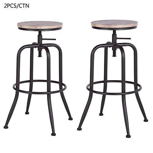 FURNITURE-R France – Juego de 2 sillas de bar estilo industrial vintage taburetes de bar (parte superior de roble/nogal, taburete y metal, estilo altura regulable giratoria)