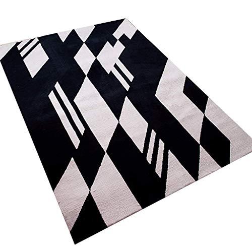 Tapis JXLBB de Salon Noir et Blanc Minimaliste Moderne 1.2x1.7m Nordique géométrique Hall Table Basse Pad Chambre lit Queue Anti-dérapant Courte Couverture de Laine Polyester