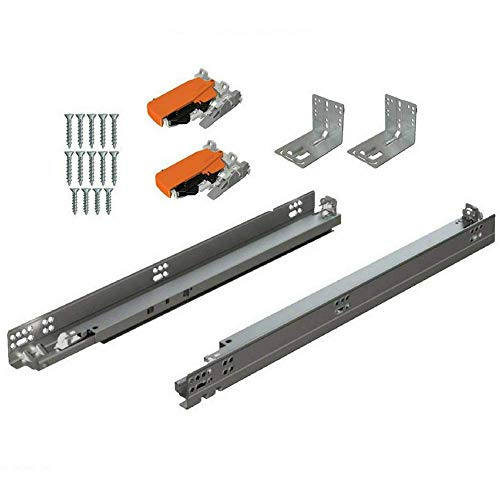 """Blum 563H5330B 21"""" Tandem Drawer Slides Plus Blumotion Complete Kit. with Runners 563H, Locking Devices, Rear Mounting Brackets and Screws (for Face Frame Or Frameless Application), Zinc (Pack of 6)"""