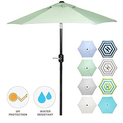 6 Ft Outdoor Patio Umbrella with Aluminum Pole, Easy Open/Close Crank and Push Button Tilt Adjustment - Sage Green Market Umbrellas