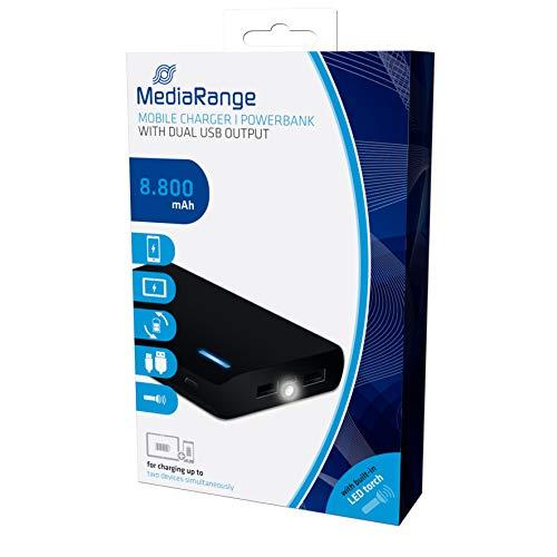 MediaRange Mobiles Ladegerät | Powerbank 8.800 mAh mit zwei USB-Ausgängen und integrierter Taschenlampe