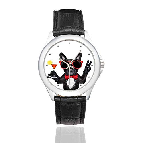 InterestPrint Funny French Bulldog Dog Women's Waterproof Classic Wrist Watches with Black Leather Band