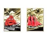 Barco rojo Paisaje Fotos de arte Barcos rojos Impresiones Carteles Lienzo Pintura Cuadro de pared para sala de estar Decoración de pasillo 30x50cm / 11.8'x 19.7' Con marco