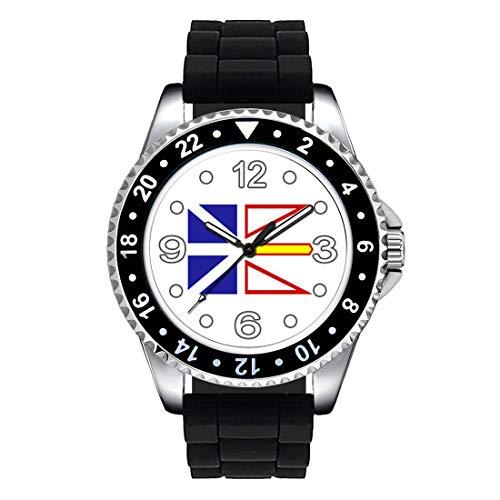 Timest - Kanada Neufundland Länder Flaggen Uhr Unisex Erwachsene mit Silikonarmband in schwarz Rund Analog Quarz SE0484SB