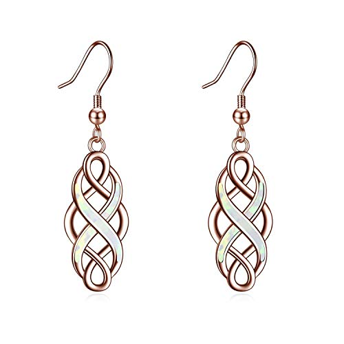 LUHE Celtic Earrings Sterling Silver Oxidized Good Luck Irish Vintage Celtic Knot Dangle Dangling Earrings Jewelry Dangles Gifts for Women Girls (Rose gold Celtic knot earrings)