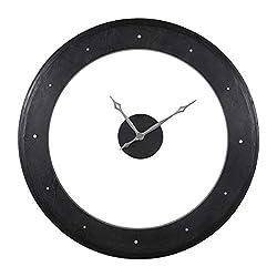Uttermost 06101 Ramon - 45 Wooden Wall Clock, Rich Ebony Stain/Matte Silver Finish